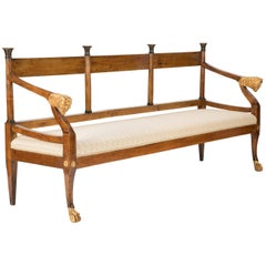Italian Neoclassical Walnut Bench