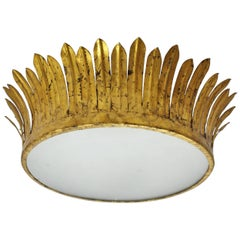 French, 1940s Neoclassical Gilt Iron Crown Light Fixture with Frosted Glass