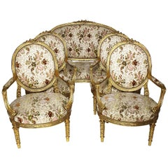 French 19th-20th Century Louis XV Style Giltwood Carved Five-Piece Salon Suite