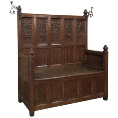 19th Century French Gothic Hall Bench