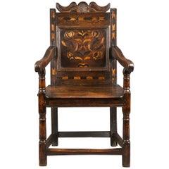 Inlaid Gloucestershire Mid 17th Century Oak Armchair