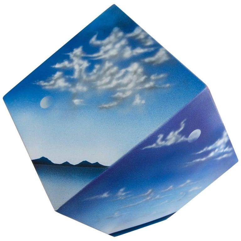 Ceramic Cube Sculpture with Atmospheric Images 1