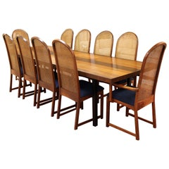 Mid-Century Modern Baughman for Directional Walnut Rosewood Cane Dining Set