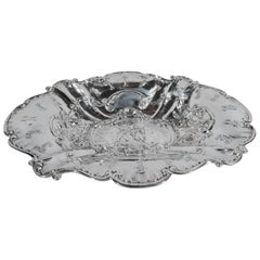 Antique German Rococo Silver Bowl with Gallant Swingers