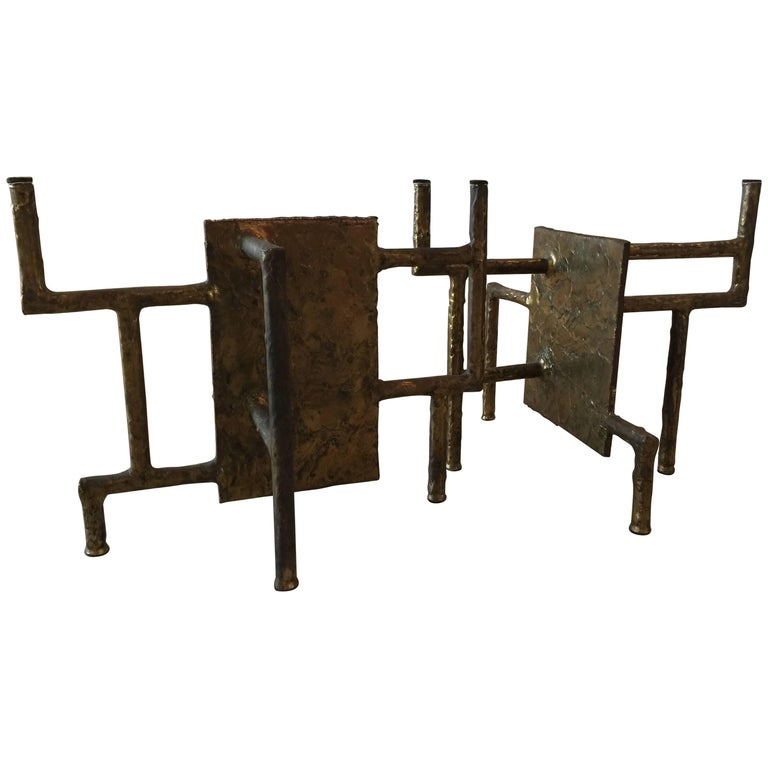 Silas Seandel Bronze Brutalist Coffee Table Base 1