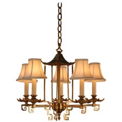 French Midcentury Chinoiserie Bronze Chandelier