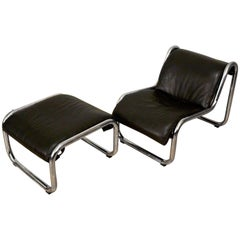 1970s Leather and Chrome Lounge Chair and Ottoman by Kinetics Furniture