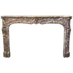 French Louis XV Antique Rouge Royale Marble Mantel