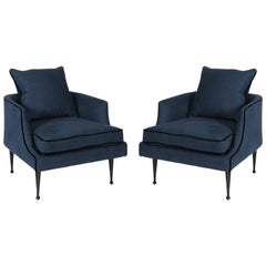 Pair of Rich Blue Linen Club Chairs