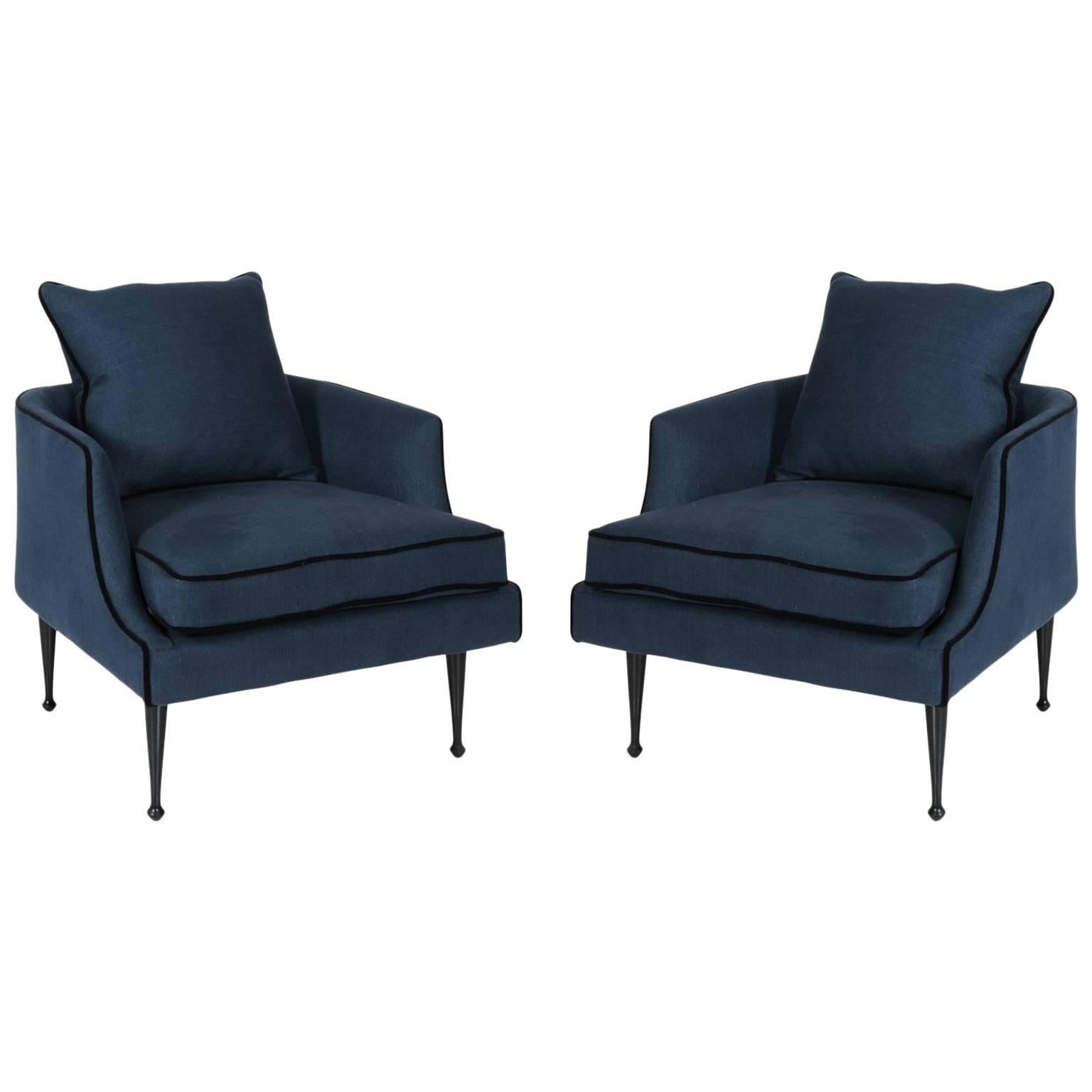 Pair Of Rich Blue Linen Club Chairs For Sale