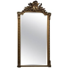 Grand 19th Century French Baroque Gilded Beveled Mirror
