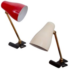 Pair of Desk or Table Clamp Lamps by Giuseppe Ostuni for O-Luce