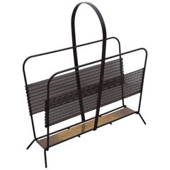 Mathieu Matégot Magazine Rack or Stand or Tray in Black and Brass France, 1950s