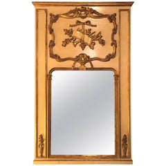 Louis XVI Style Painted & Parcel-Gilt Trumeau Console or over the Mantle Mirror
