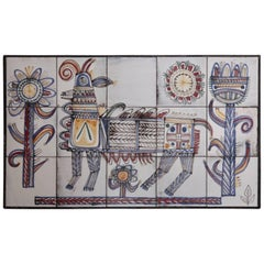 Large Jean Derval Ceramic Tile Wall Panel, France, 1950s