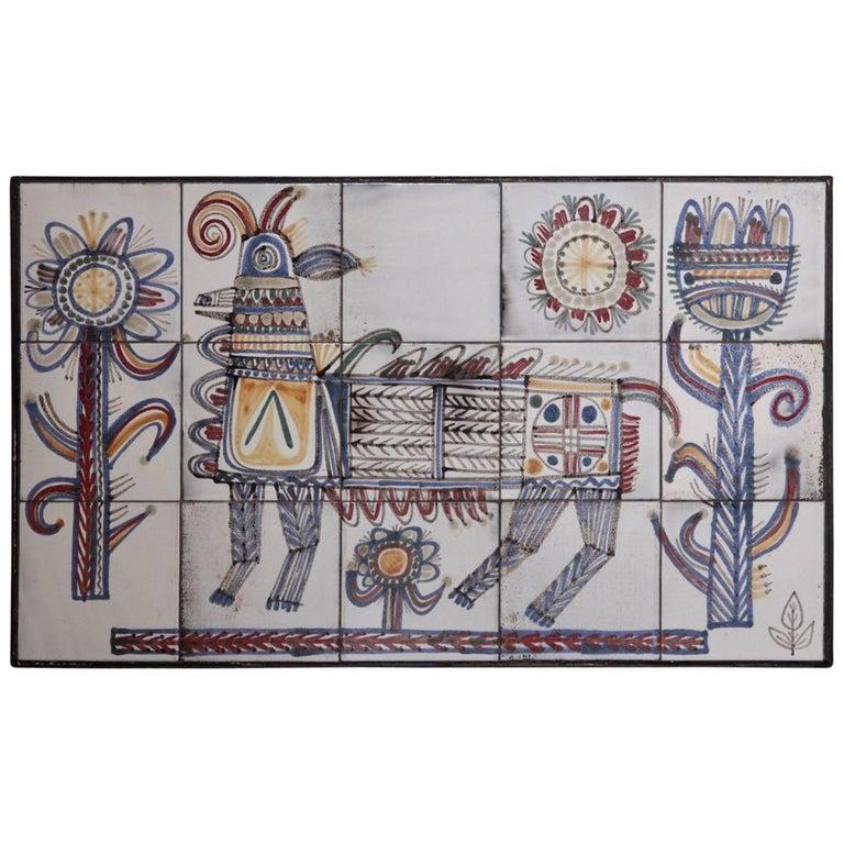 Large Jean Derval Ceramic Tile Wall Panel, France, 1950s