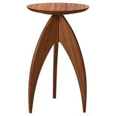 Solid Zebrawood Post-Modern Three-Legged Candle Stand Side Table