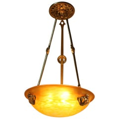 French Art Glass and Bronze Chandelier