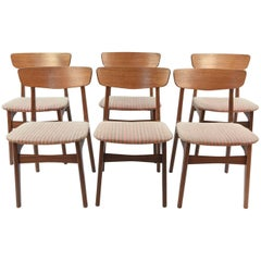 Set of Six Teak Danish Midcentury Side Chairs