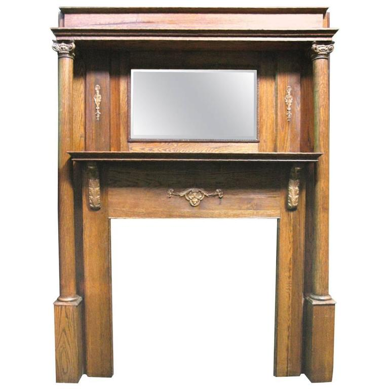 Greek Revival Style Oak Mantel With Beveled Mirror And