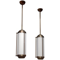 Pair of Large Brass Pendant Lamps, Germany, 1940s
