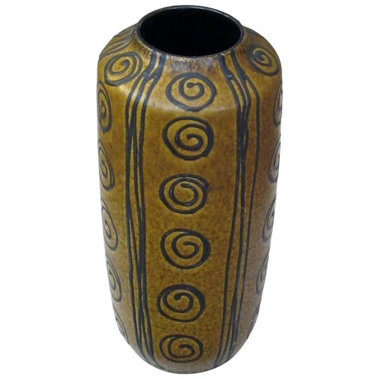 Tall West German 1960s Ochre Glazed Vase with Dark Brown Drip-Glaze Decoration