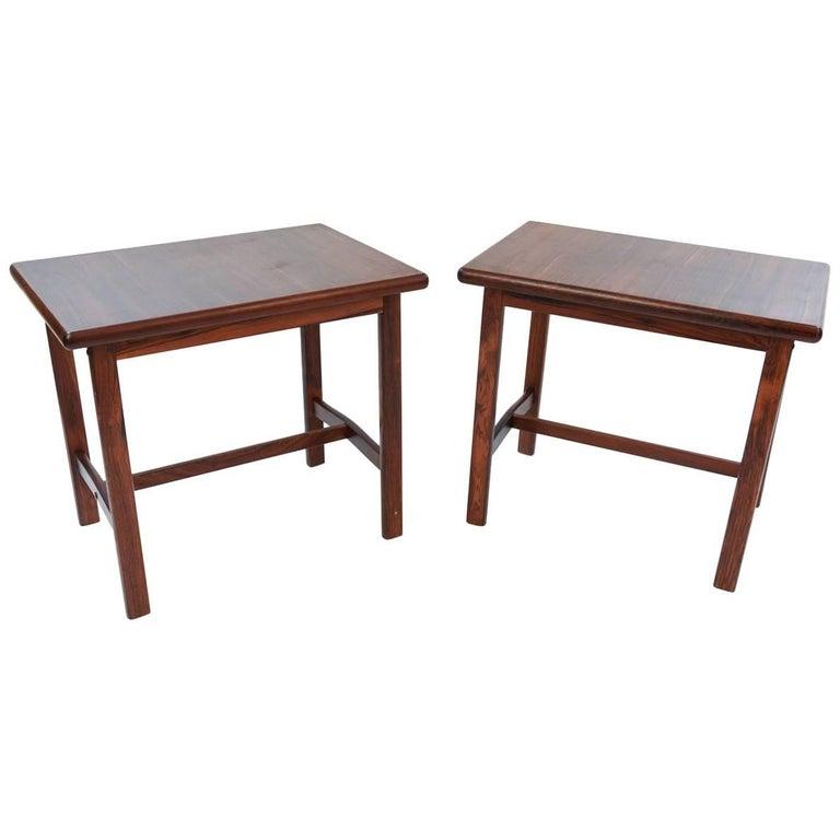 Pair of Danish Midcentury Rosewood Side Tables