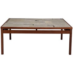 Large Danish Modern Mid-Century Rosewood and Tile Coffee Table
