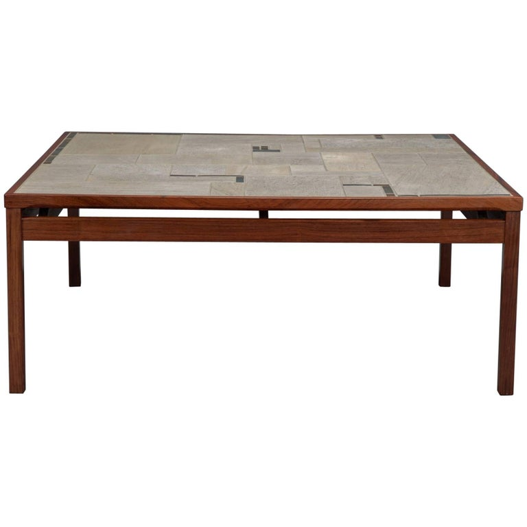 Large Danish Modern Rosewood And Tile Coffee Table For Sale At 1stdibs