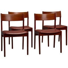 Set of Four Danish Teak and Leather Dining Chairs