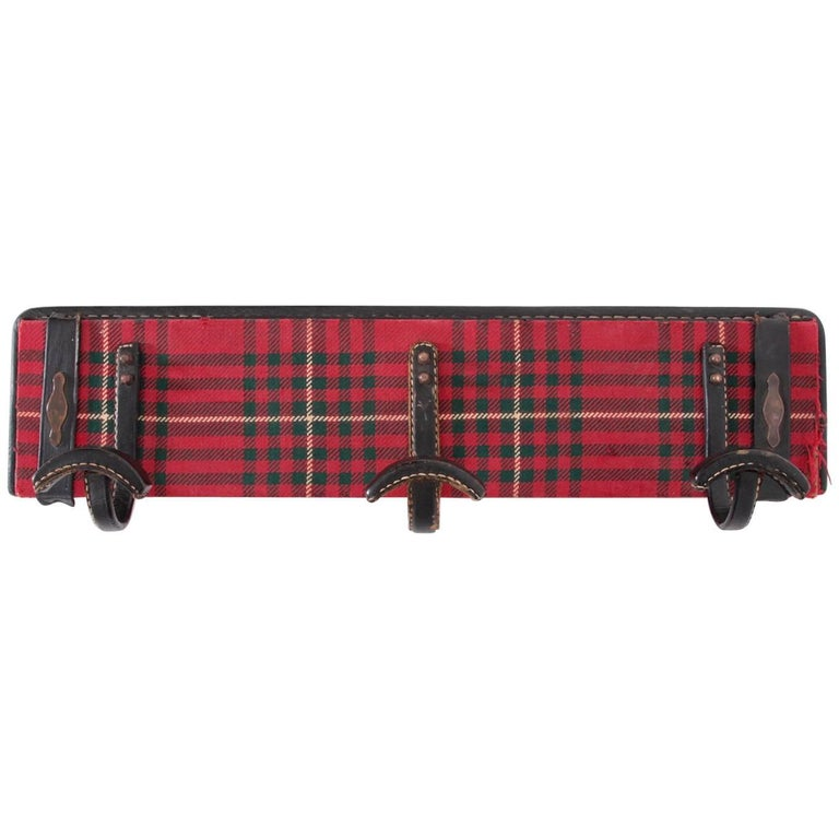Fully Original Jacques Adnet Coat Hanger in Leather and Tartan Plaid Wool