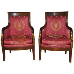 19th Century Rare Pair of Italian Empire Armchairs with Gold Leaf Decorations