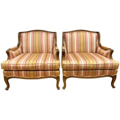 Pair of French Bergere Pink Armchairs