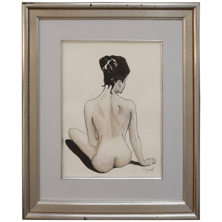 Female Nude Back Ink and Watercolor Drawing by David Segel