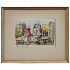 Framed Watercolor of the Moulin Rouge by French Artist Pipo