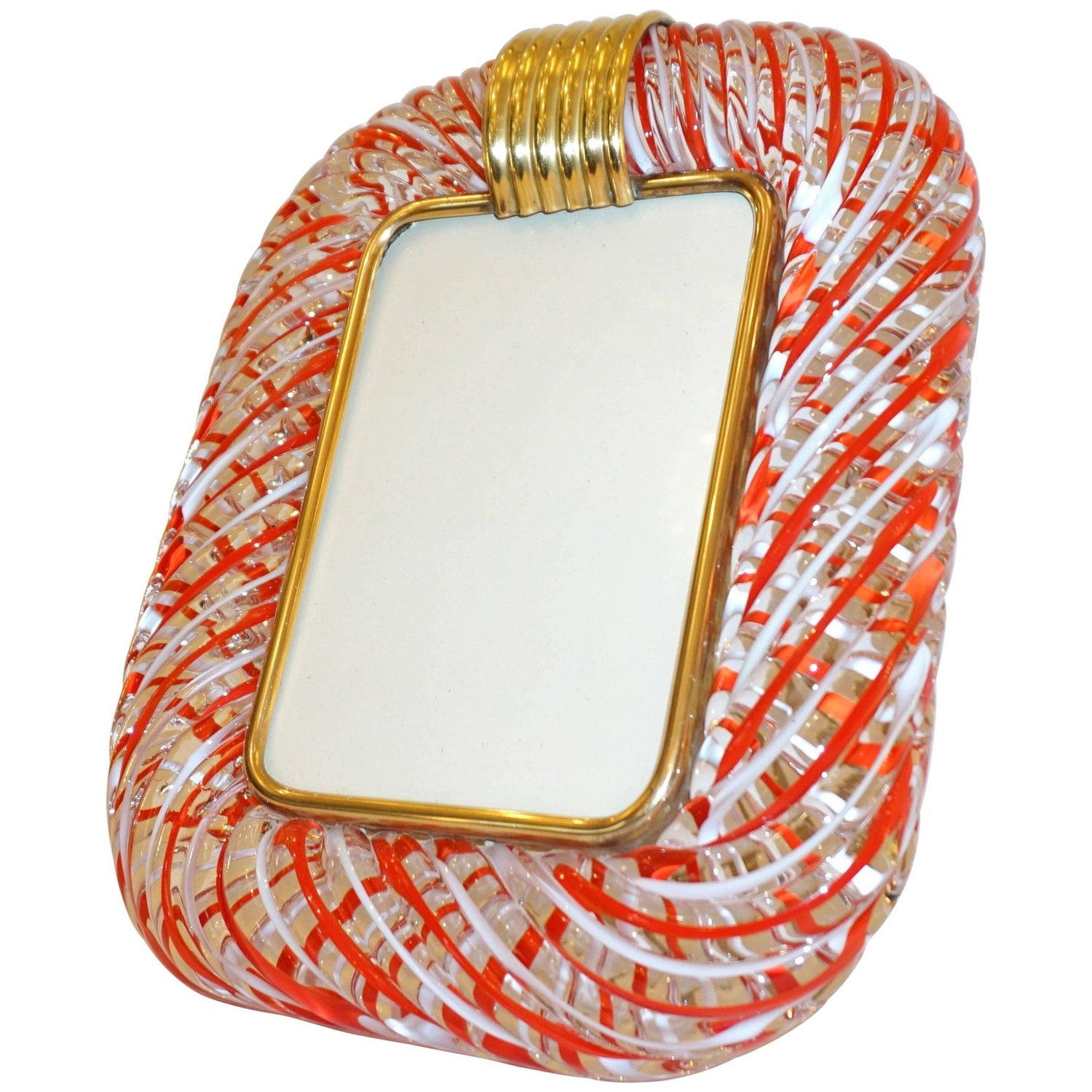 Venini picture frames 18 for sale at 1stdibs venini 1970s vintage italian red white and crystal murano glass photo frame jeuxipadfo Gallery
