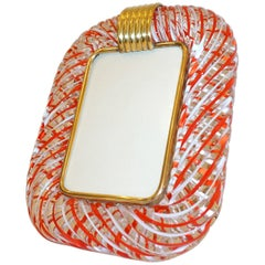 Venini 1970s Vintage Italian Red White and Crystal Murano Glass Photo Frame