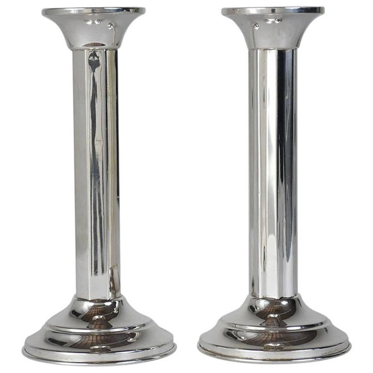 Pair of Art Deco Sterling Silver Candleholders