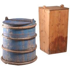 Pair of 19th Century Folk Art Barrels from Sweden