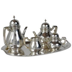 Five-Piece Tiffany-Style Sterling Silver Tea Set