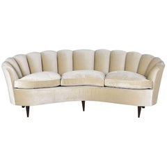 Early 20th Century Italian Hollywood Regency Gio Ponti Curved Sofa