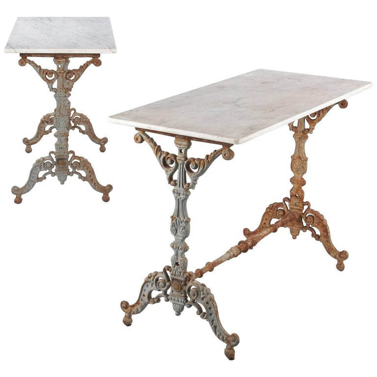 Pair of Spanish Rococo Iron Base Bistro Tables with Marble Tops, Late 1800s
