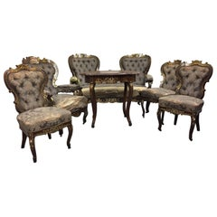 English Six-Piece Brass Inlaid Salon Set, 19th Century