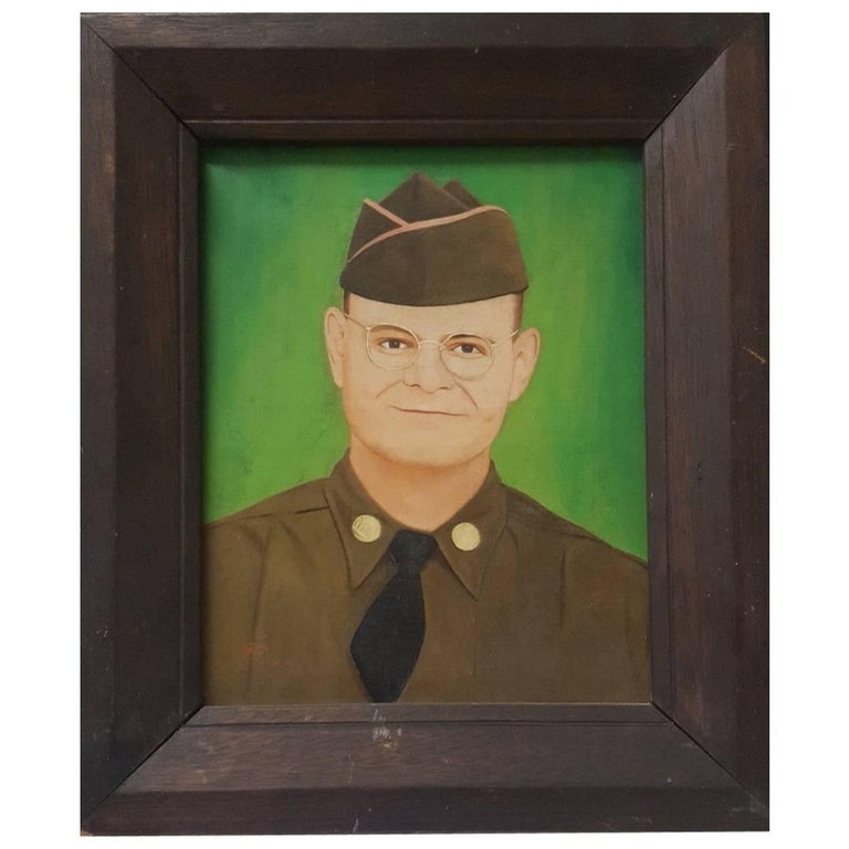 20th Century Outsider Art Portrait of an American Soldier