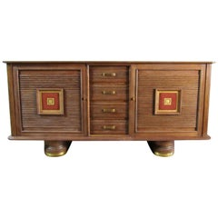 Cerused Art Deco Oak Buffet Maxime Old Style France, circa 1940