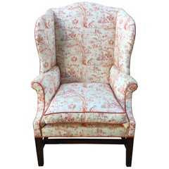 English Mahogany Wingback Chair, Mid-19th Century