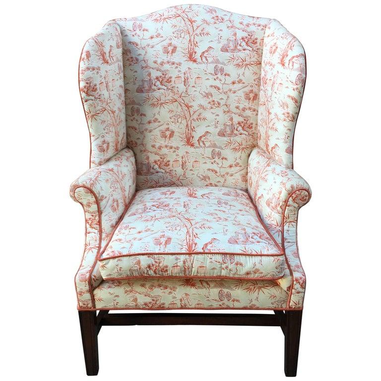 English Mahogany Wingback Chair, Mid-19th Century