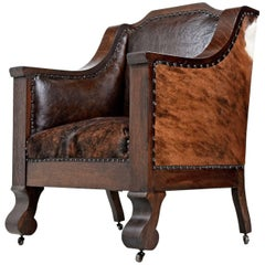 Early 1800s Handmade Empire Style Leather Thrown Chair Re-Invented in Cowhide