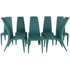 Woven Leather Dining Chairs, Set of Eight
