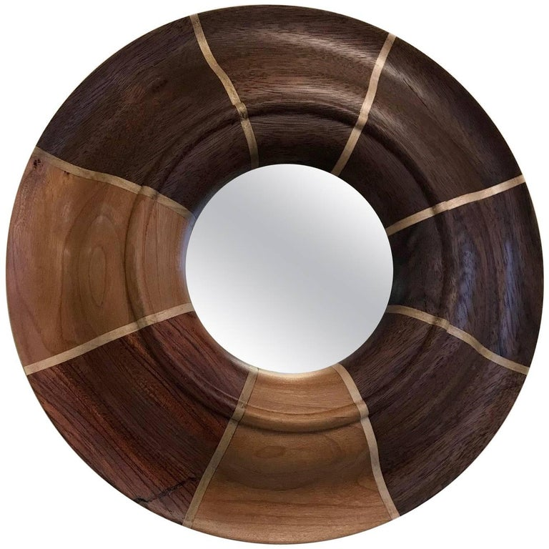 Small Custom Walnut and Maple Inlay Mirror For Sale